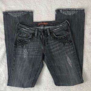 Vigoss Distressed Black Studded Pockets Jeans